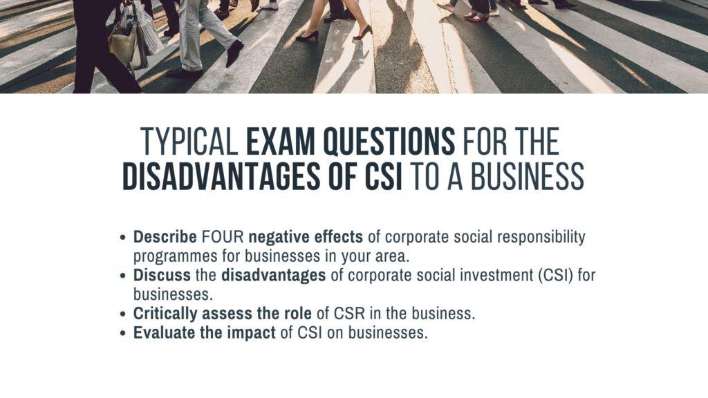 drawbacks, disadvantages of csi on business. Exam questions business studies. nsc exam preparation
